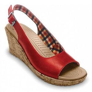 Crocs Aleigh Cork Wedge Sandals Red sz. 8